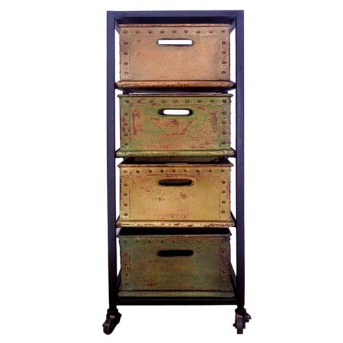 IRON 4 DRAWERS BAKER'S RACK ON WHEELS