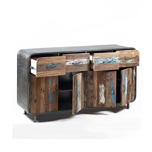 IRON RECLAIMED TIMBER 4 DRAWER