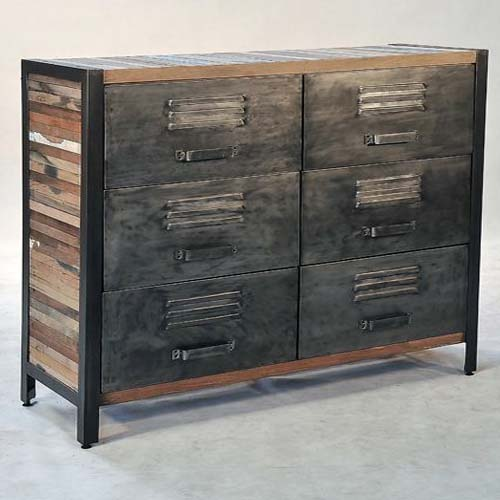 IRON WITH RECYCLED TIMBER 6 DRAWERS CHEST