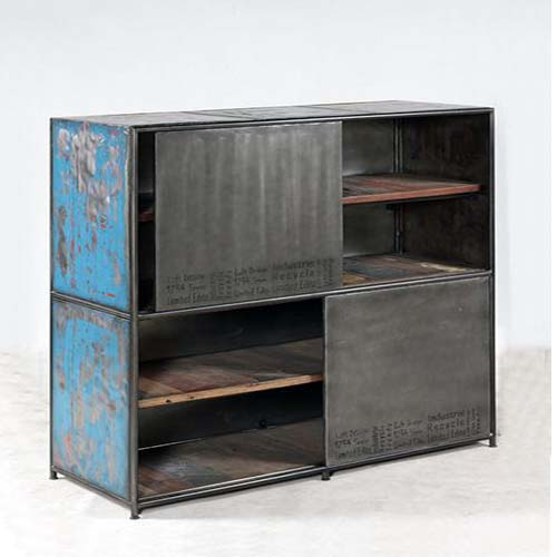IRON WITH RECYCLED TIMBER SLIDING DOOR CABINET