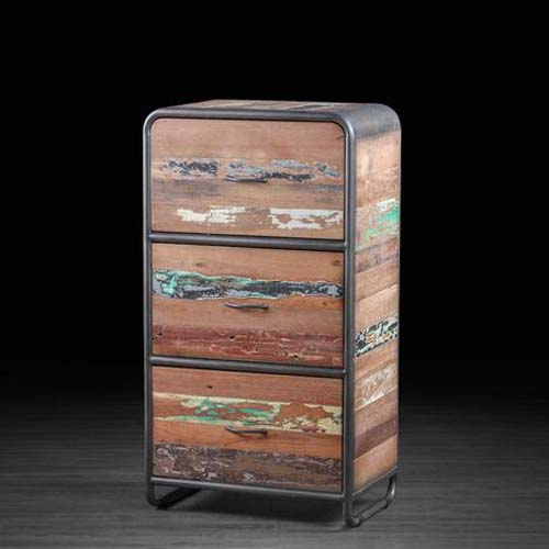 IRON WITH RECLAIMED TIMBER 3 DRAWERS CHEST