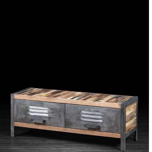 IRON WOODEN 2 DRAWERS PLASMA CABINET
