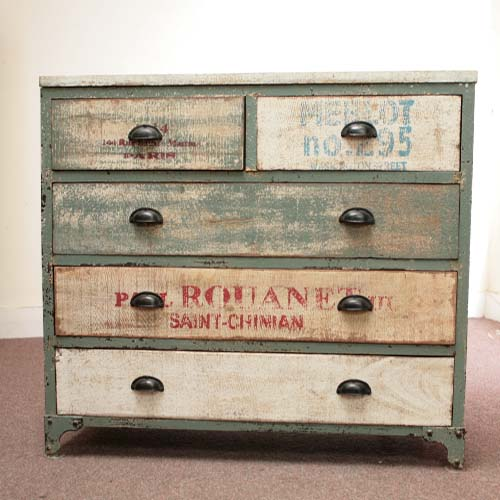 IRON WOODEN 5 DRAWERS CHEST