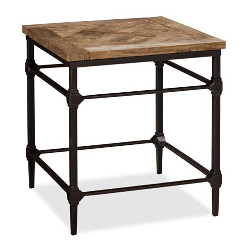 IRON WOODEN SQUARE SIDE TABLE