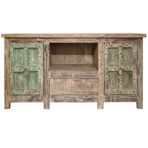 Order Now Wooden 1 Drawer Old Door Plasma Cabinet Lime Finish