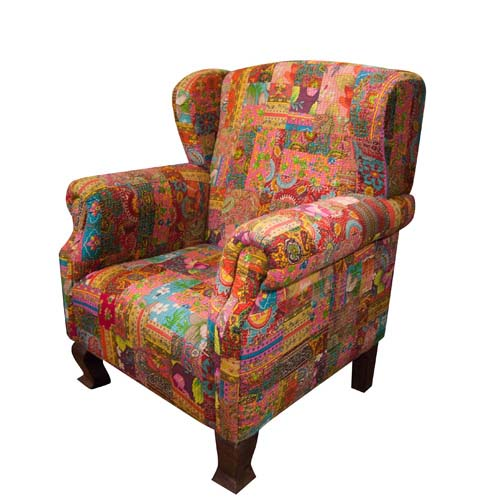 KANTHA FABRIC UPHOLSTERED CHAIR