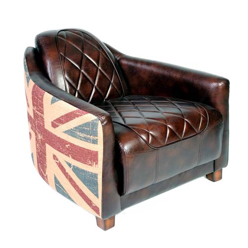 LEATHER CANVAS UNION JACK PRINTED SINGLE SEATER SOFA