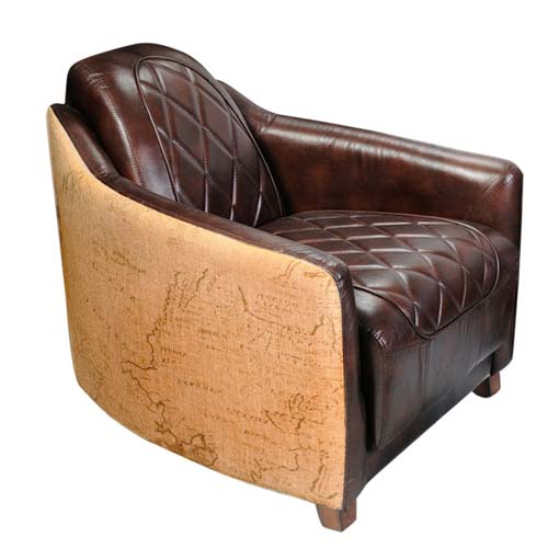 LEATHER CANVAS SINGLE SEATER SOFA