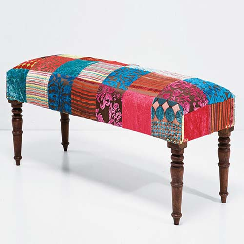 PATCH WORK UPHOLSTERED BENCH