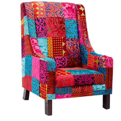 PATCHWORK SINGLE SEATER HIGH BACK CHAIR