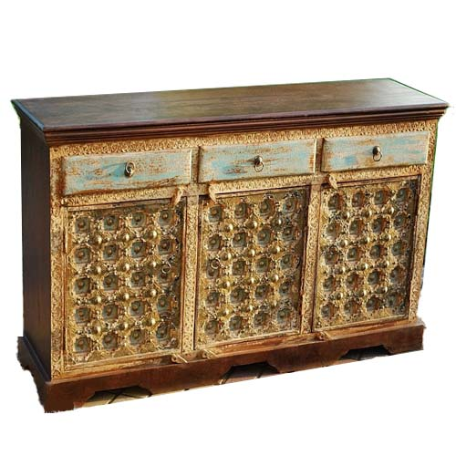 WOODEN 3 DRAWERS CARVED 3 DOORS BRASS FITTED