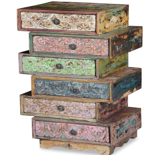MULTI COLOURED CARVED 6 DRAWERS