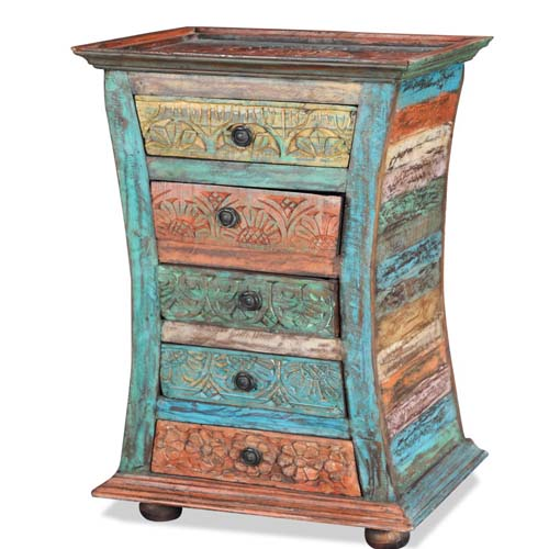 MULTI COLOURED CARVED 5 DRAWERS