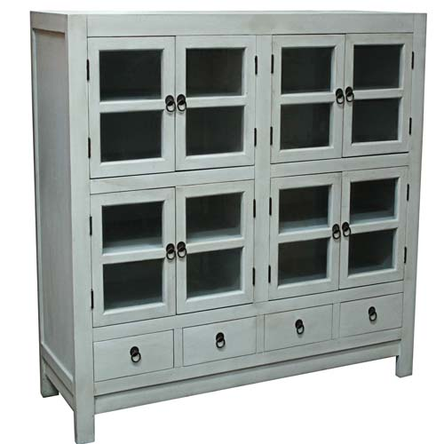 WOODEN 4 DRAWERS 4 DOORS GLASS CABINET