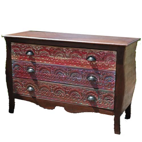 WOODEN CARVED 3 DRAWERS CHEST