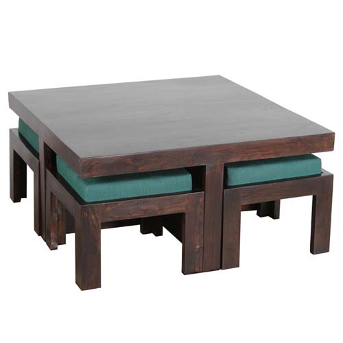 WOODEN COFFEE TABLE WITH 4 STOOLS SET OF 5